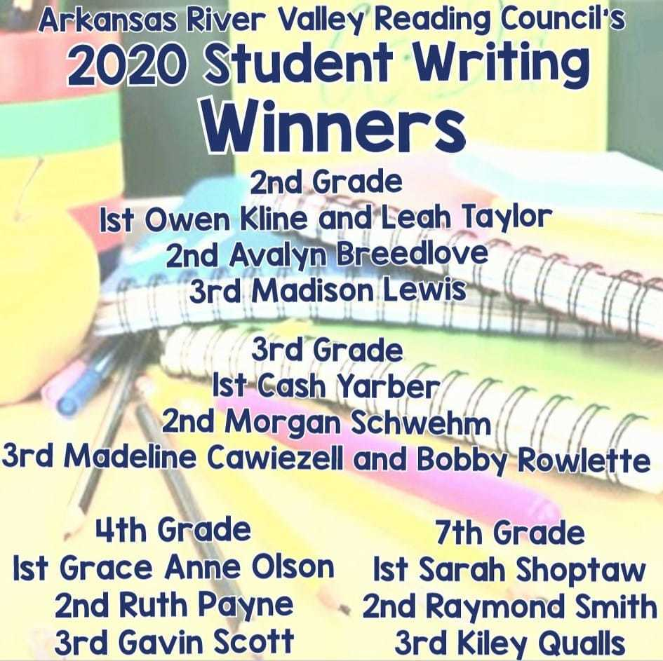 RMS & Sequoyah Elementary students recognized by the 'AR River Valley Reading Association'