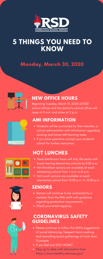 From the Office of the Superintendent; 5 things you need to know for Monday, March 30, 2020