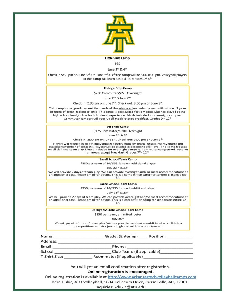 ATU announces dates for Volleyball Camps