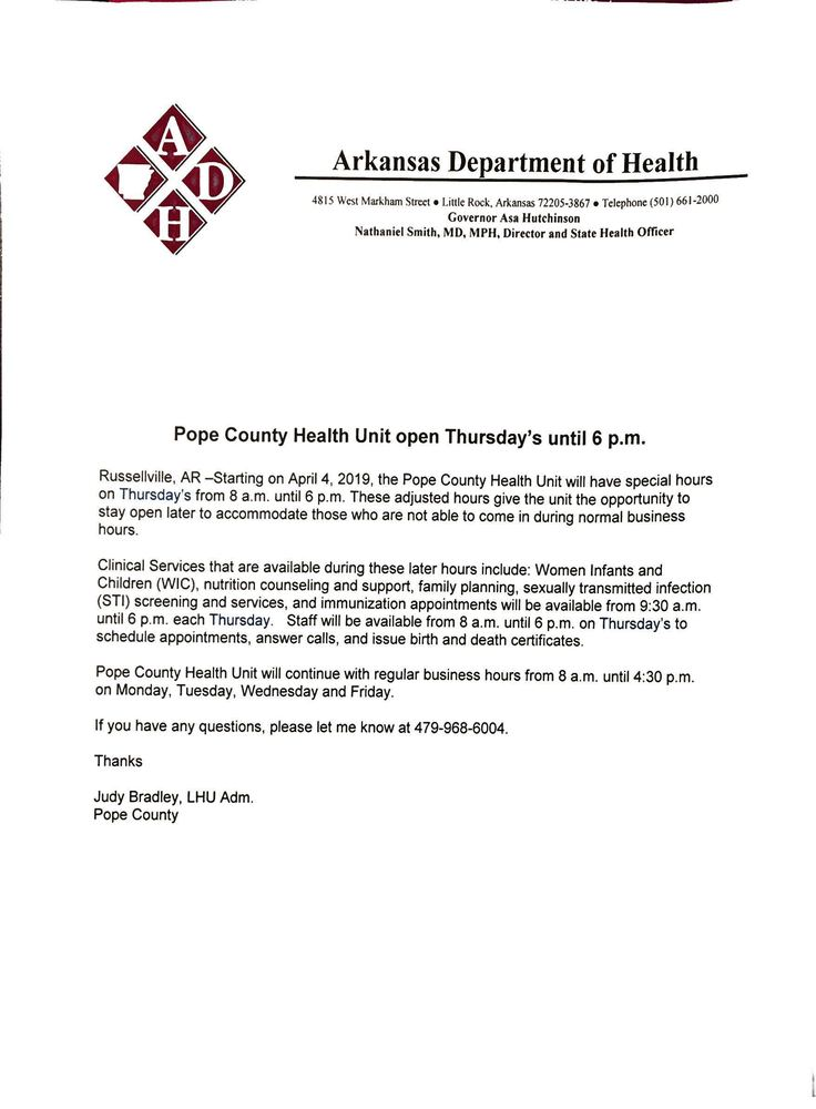 Pope Co. Health Unit now open late Thursday's