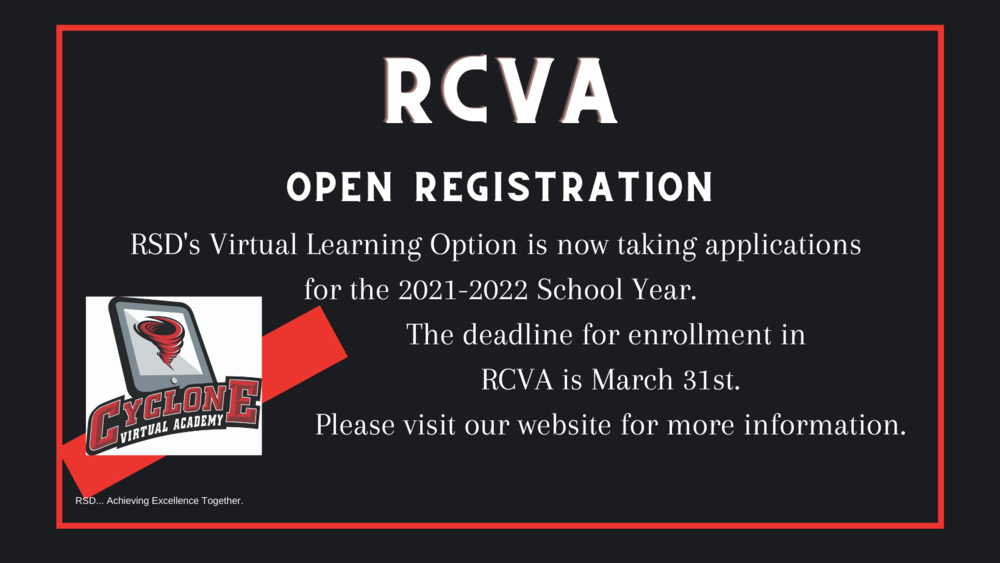 RCVA is now enrolling for the 2021-2022 school year!