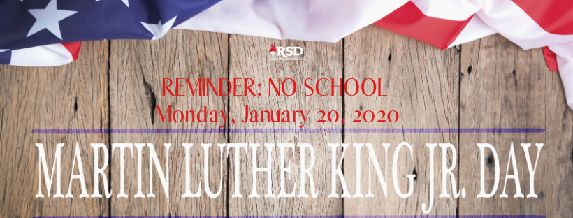 No School 1-20-20 Martin Luther King Jr. Day