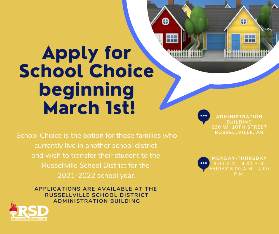 School Choice Applications available for the 2021-2022 school year beginning March 1st!
