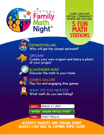 Crawford's Virtual Math Night Flyer