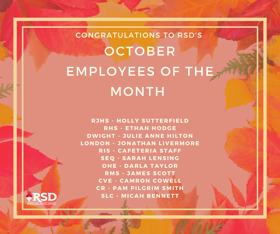 RSD's October employees of the month