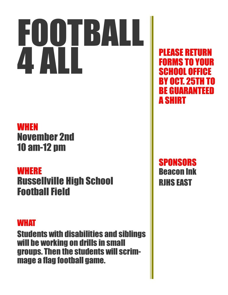 Football 4 ALL Flag Football Scrimmage scheduled for Saturday, November 2, 2019!