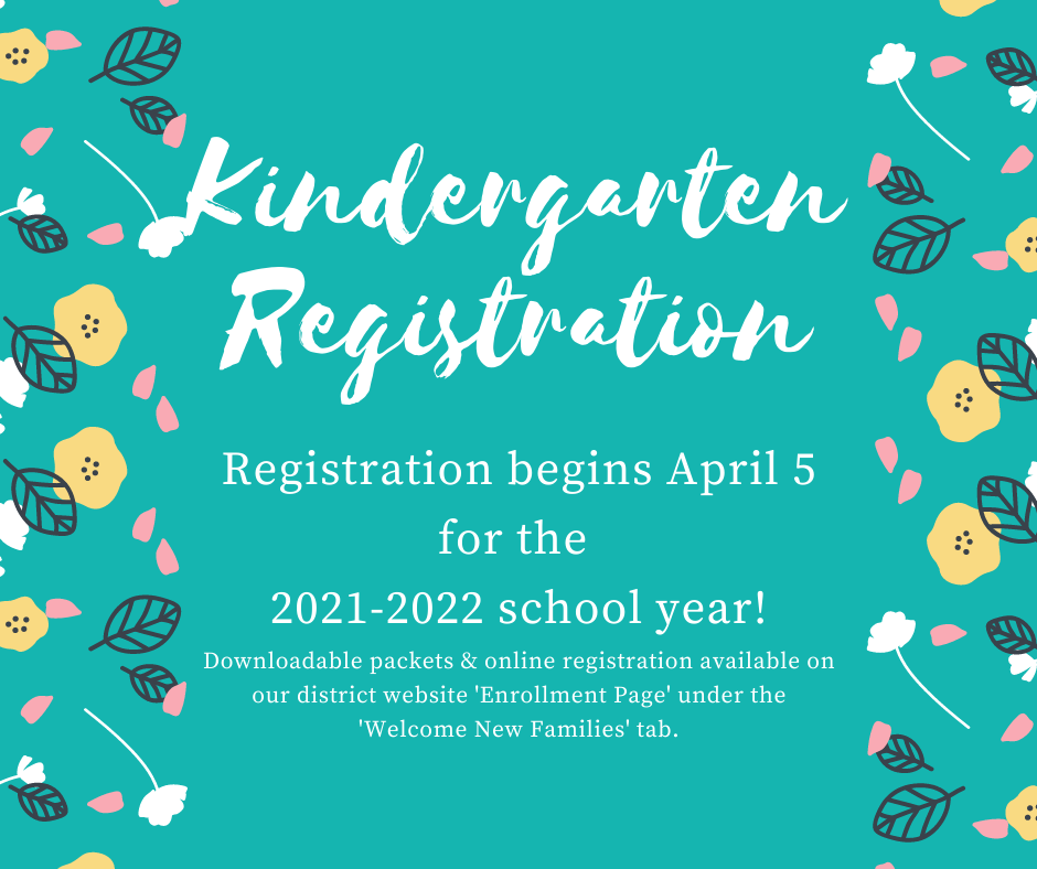 kindergarten registration opens Monday, April 5