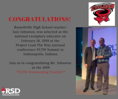 Russellville High School's Jazz Johnston receives the highest honor given to PLTW teachers