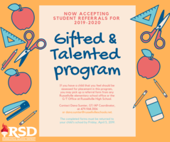 RSD is accepting student referrals for Gifted and Talented program