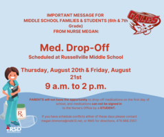 RMS Med Drop-Off Scheduled for 8.20 & 8.21