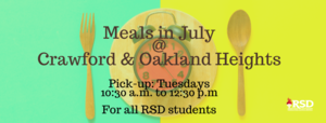 ATTENTION RSD FAMILIES: Information for  Meal Distribution in July-