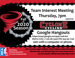 Cyclone Cycling Team Meeting scheduled for 4.2.20