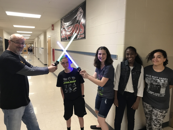 RMS students wearing Star Wars outfits.