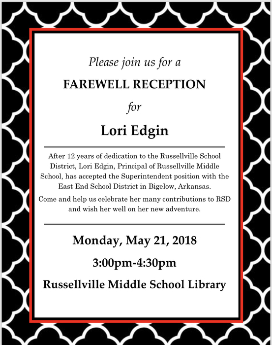 Mrs. Edgin Reception notice.