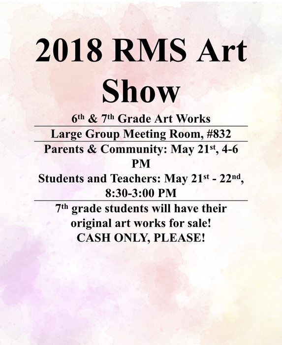 RMS Art Show notice.