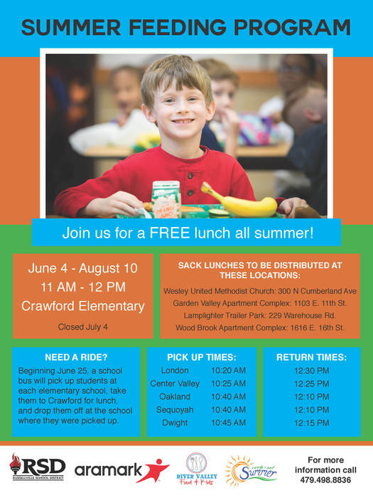 Russellville School District will be providing free lunches from 11 am to 12 pm now until August 10th at Crawford Elementary School. If you need transportation to and from Crawford Elementary, a school bus will be picking up students at each elementary school.