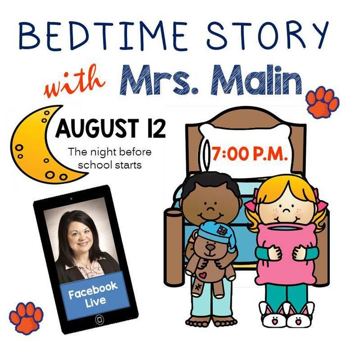 Facebook Live Bedtime Story August 12 at 7pm