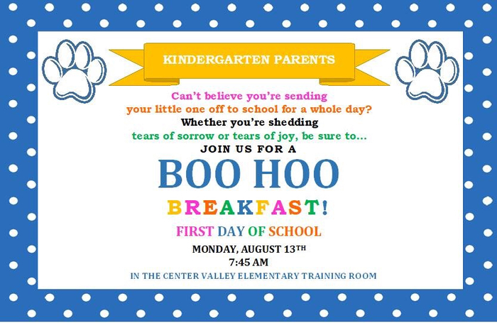 Boo Hoo Breakfast for Kindergarten Parents