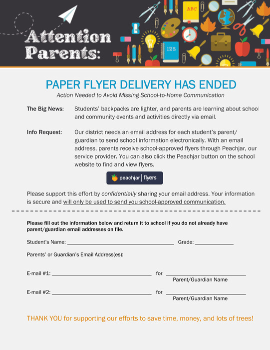 Parent Email Request Form for Peachjar