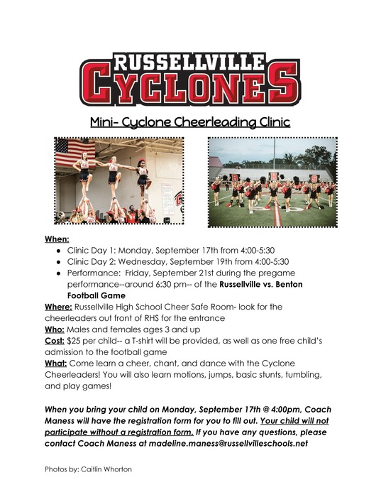 Mini-Cyclone Cheerleading Camp Information