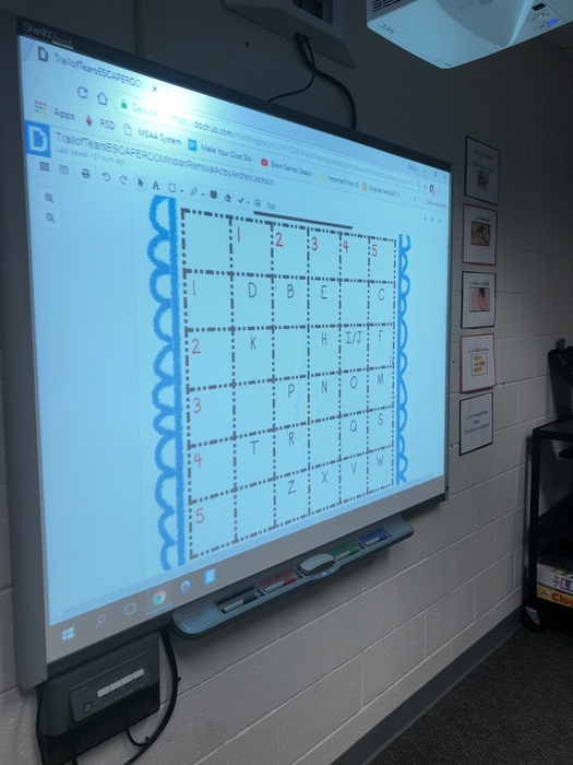 Picture of escape room activity on the Smart Board