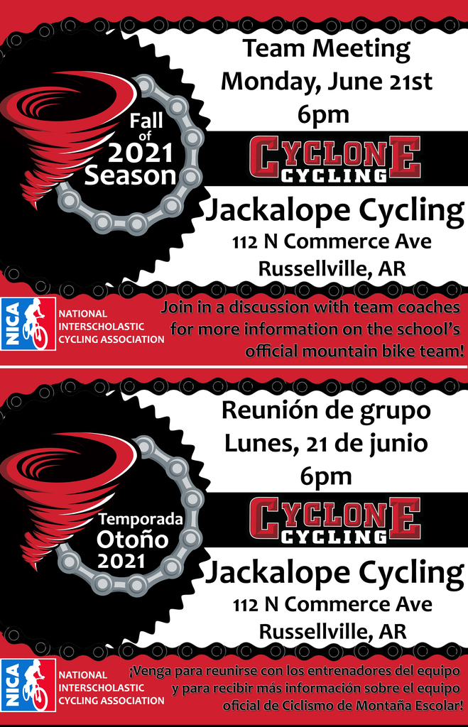 Cyclone Cycling information meeting will be on June 21st , 6pm at Jackalope Cycling.