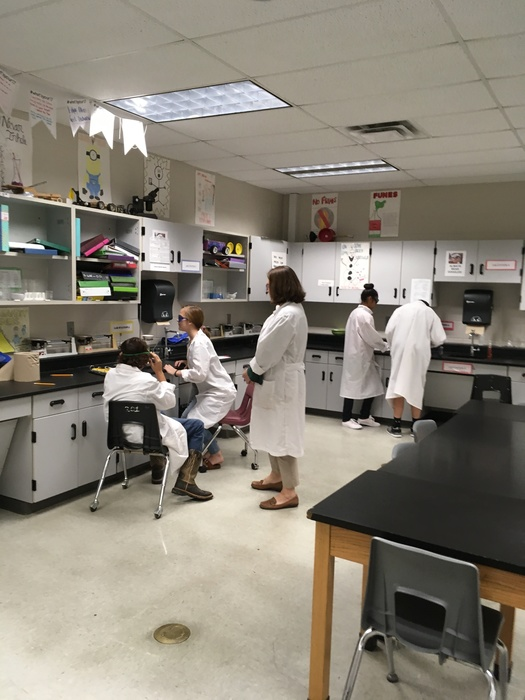 Students practicing lab safety