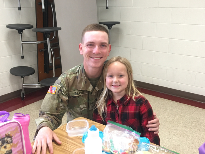 PVT Reavis surprising his little sister Emma.