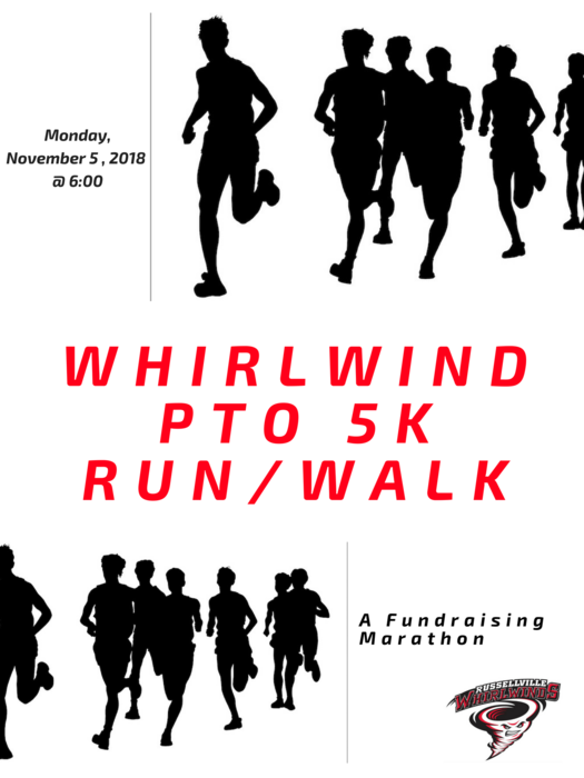 Flyer for 5k with black silouette runners and red lettering.