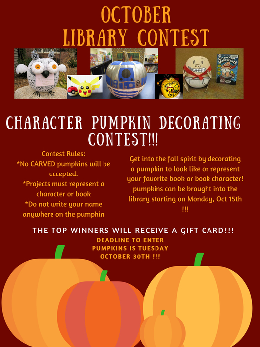 Flyer for pumpkin decorating contest with marroon background and orange lettering.