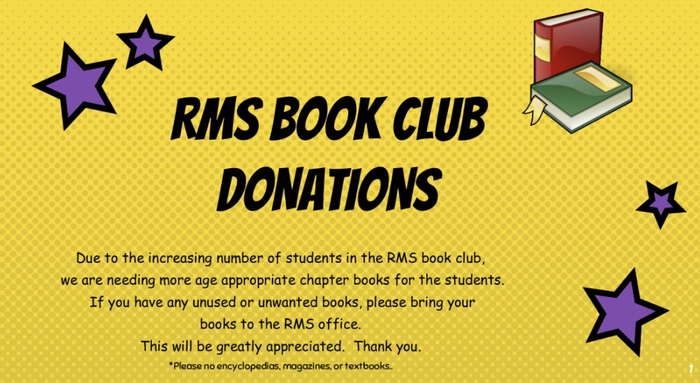 RMS book club donations requested.