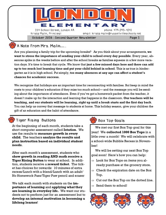 Tiger Family News 2nd Nine Weeks page 1