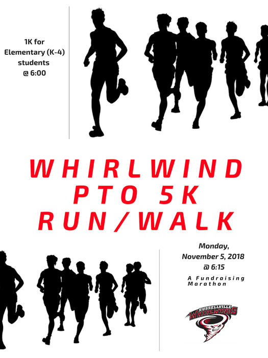 flyer for marathon with white background and runners in black silouette