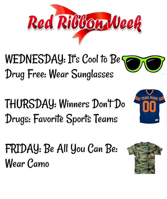 Red Ribbon Week: Wednesday Wear Sunglasses, Thursday Wear Sports Team Clothing, Friday Wear Camo