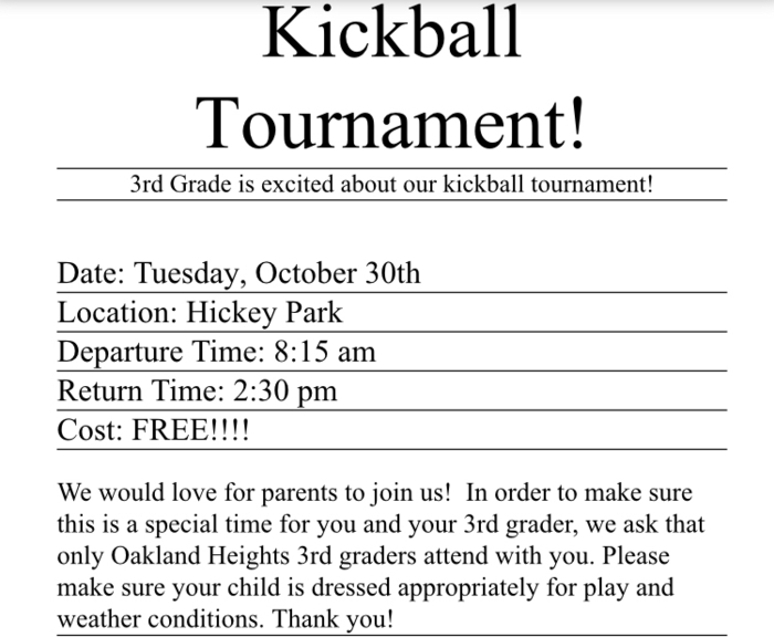 3rd grade kickball tournament