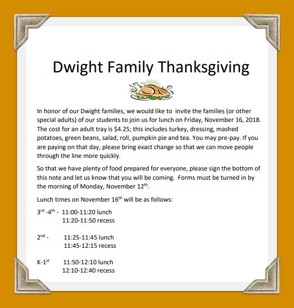 Family Thanksgiving Information: