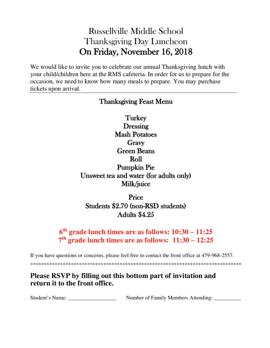 Thanksgiving luncheon information.