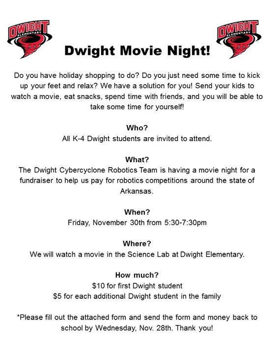 Robotics Club Movie Night Flyer