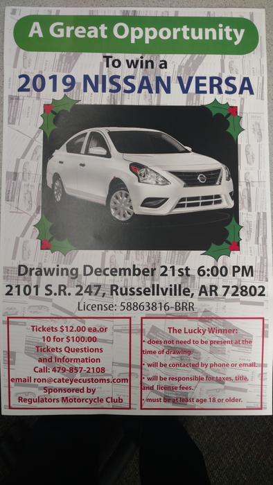 Flyer for car give away; white Nissan Sentra pictured
