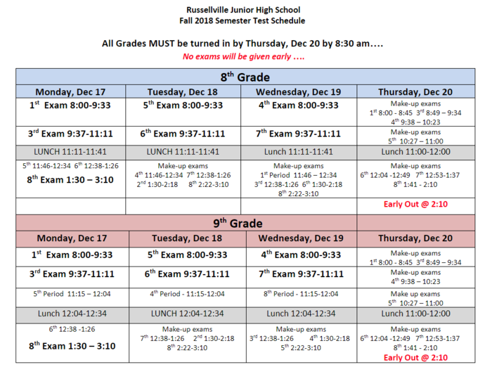 Semester Test schedule for fall testing.