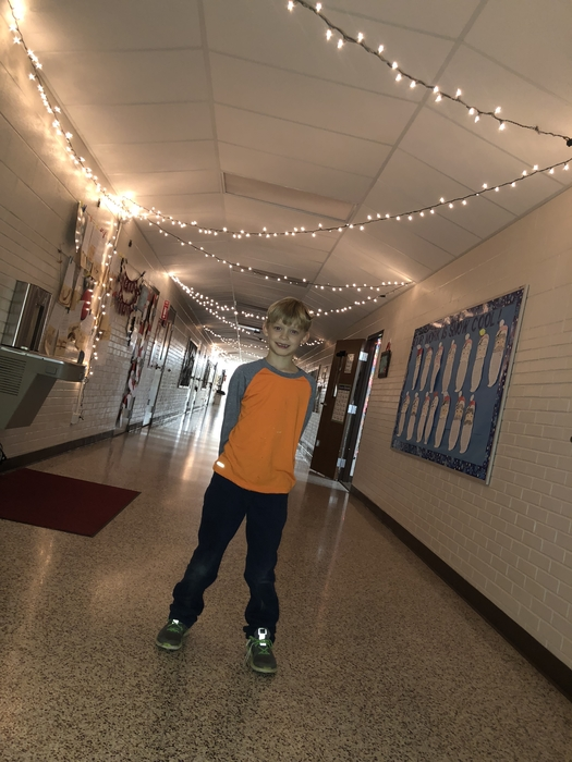 Student with lights
