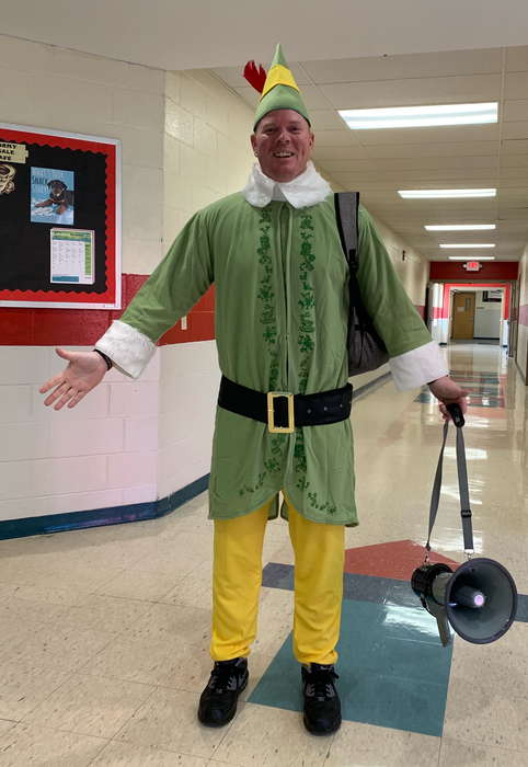 Coach McCrotty's holiday costume.