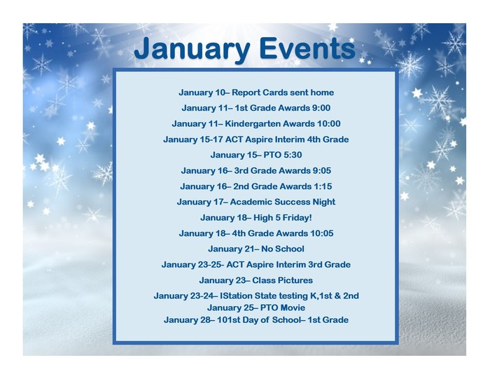 Updated January Calendar
