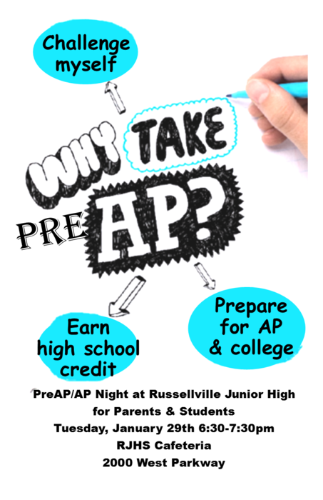 Flyer for Pre- AP night ; white background with black and teal lettering.
