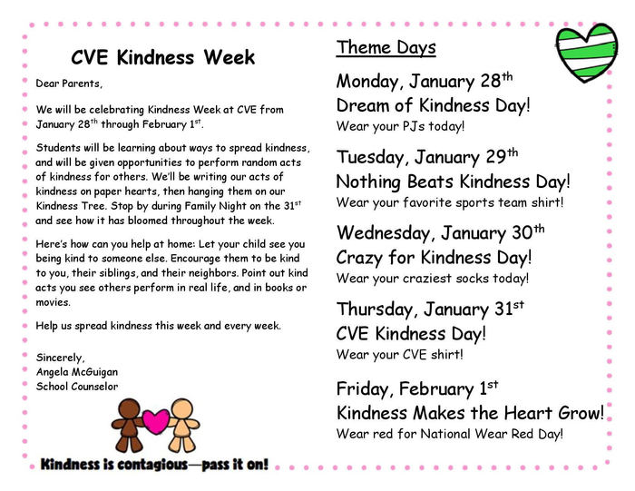 kindness week schedule