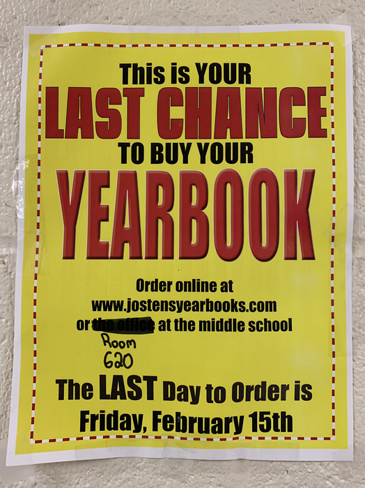 2/15/19 is the last day to order your yearbook.