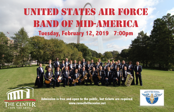 The Center for the Arts is honored to host the USAF Band of Mid-America February 12, 2019 at 7:00 p.m. The United States Air Force Band of Mid-America Concert Band represents the professionalism and excellence found every day throughout the Air Force. This diverse, 45-piece ensemble's repertoire ranges from symphonic band masterworks, to traditional marches, modern compositions, pops, and jazz. This is a family-friendly, open to all-ages event. Admission is free and open to the public, but tickets are required. Please visit our website www.russellvillecenter.net for tickets. ​Contact Chrissy Clayton at 479.498.6600​ for more information!