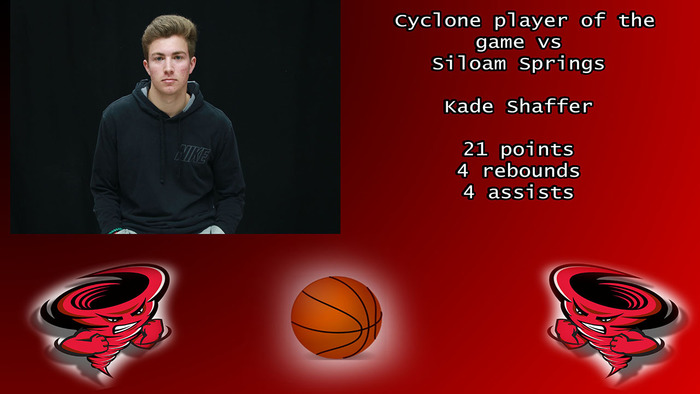 Cyclone Player of the game vs Siloam Springs.