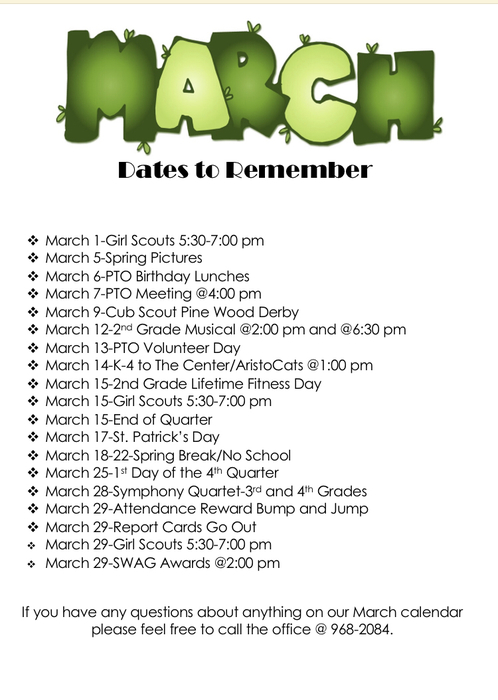March dates to remember