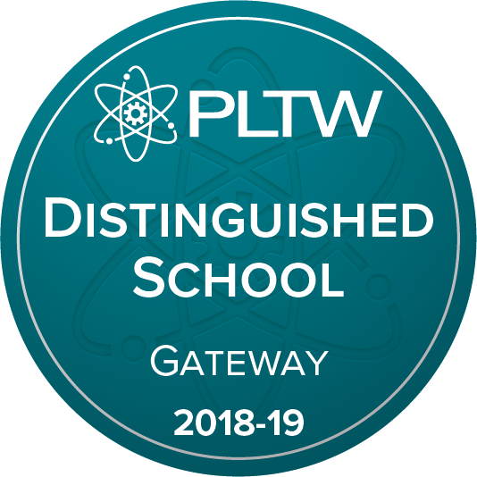 PLTW Distinguised School Logo: Teal background with white letters